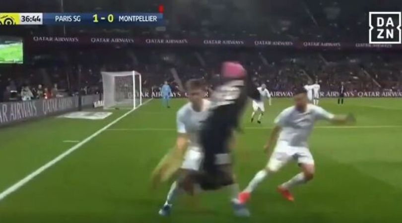 Neymar booked for attempting outrageous skill against Montpellier in last night game