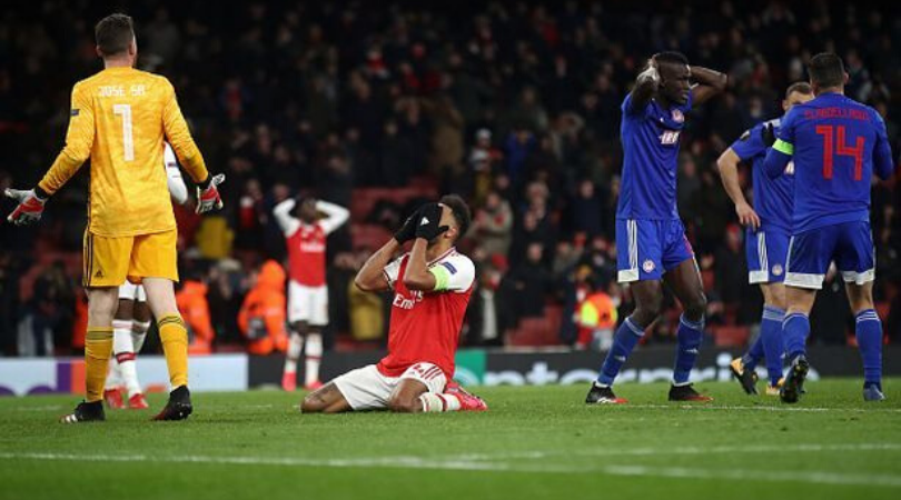Watch Aubameyang's night went from ecstatic to tragic as the Arsenal forward missed a sitter from 6 yards