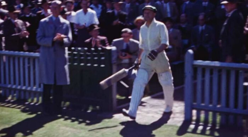 Watch unique colour footage of Don Bradman batting at the Sydney Cricket Ground