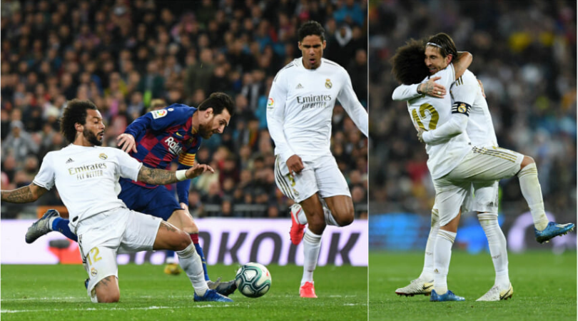 Marcelo makes a last-ditch tackle to prevent Lionel Messi from scoring in El Clasico and celebrates wildly
