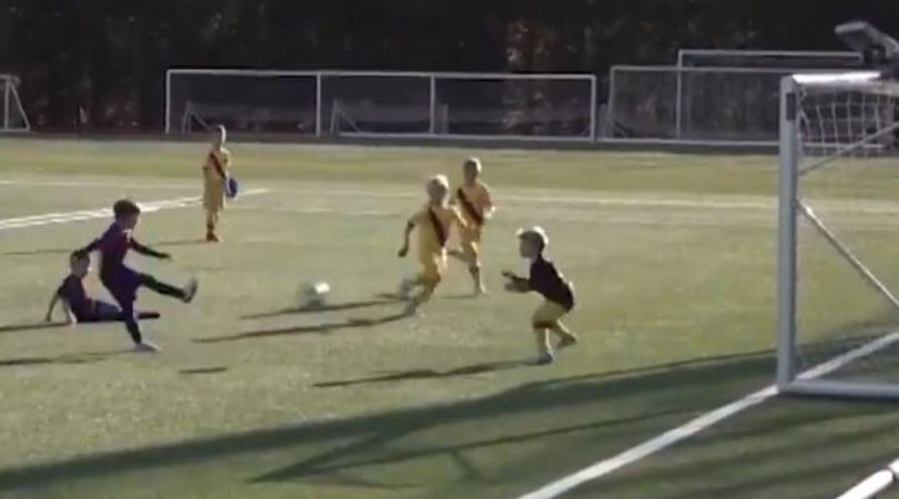 Footage of Lionel Messi and Luis Suarez's sons netting fabulous goals