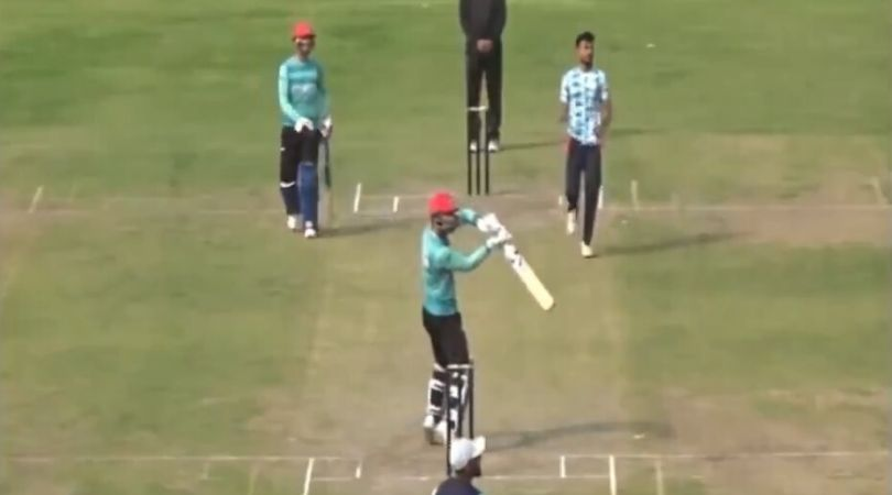 WATCH: Rashid Khan nails helicopter shot; hits the ball fiercely on the off-side
