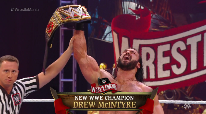 Drew McIntyre dethrones Brock Lesnar to win first WWE Championship at Wrestlemania 36