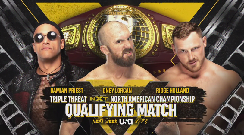 Damien Priest vs Oney Lorcan vs Ridge Holland announced for NXT next week