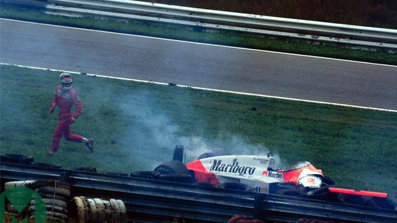 F1 car hits deer