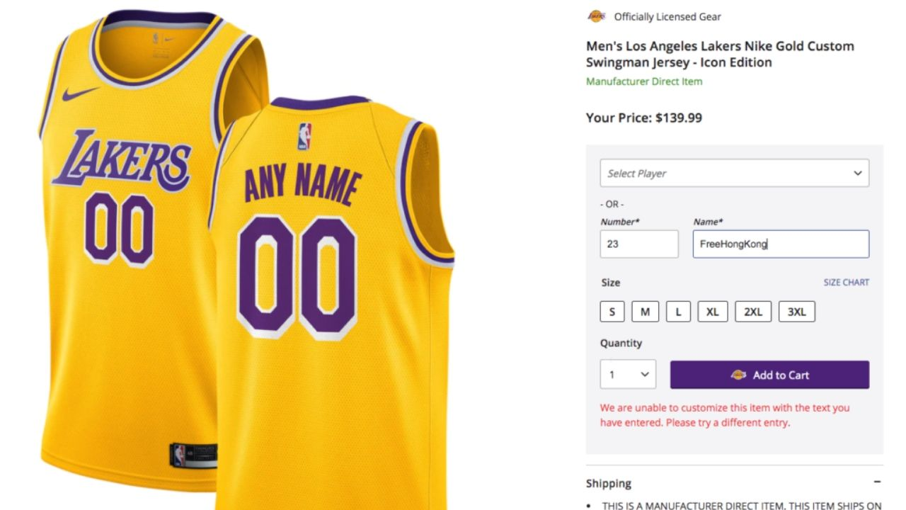 Free Hong Kong NBA jersey: NBA Store reveals why the China related ...