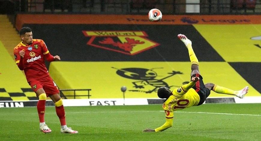 Danny Welbeck overhead goal Vs Norwich City: Former Arsenal star score from terrific overhead kick to gain lead