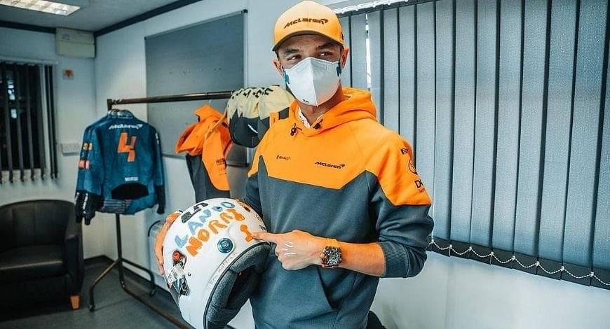 Lando Norris arranges special delivery for his helmet designer amidst pandemic