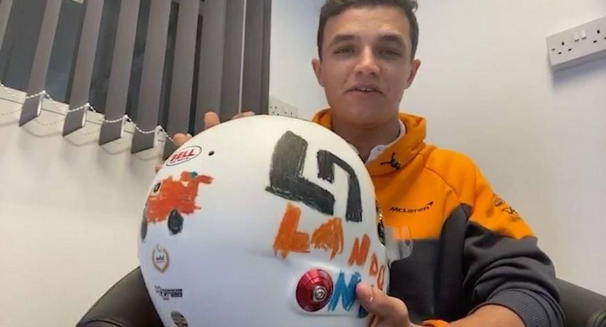 Lando Norris Helmet: McLaren star displays helmut designed by 6-year-old Eva Muttram