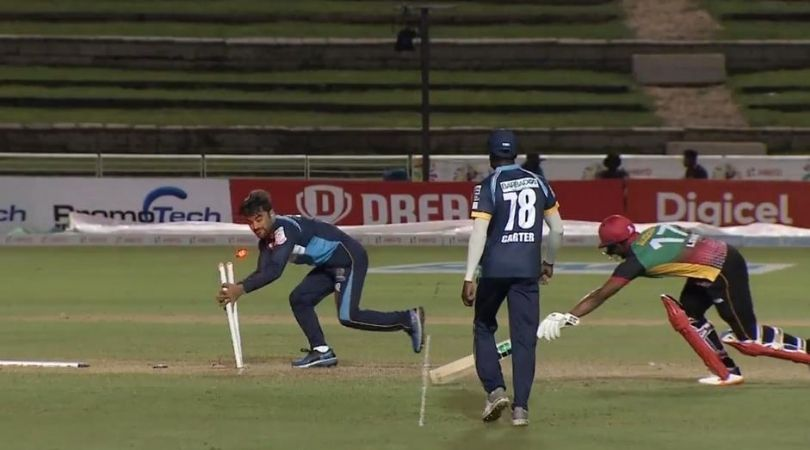 Rashid Khan run-out vs St Kitts and Nevis Patriots: Barbados Tridents' bowler outfoxes Evin Lewis in CPL 2020