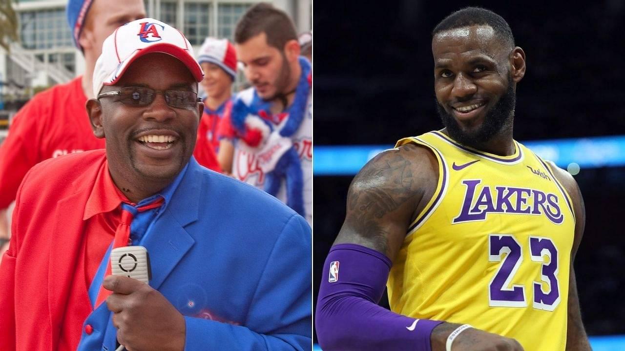 Clippers superfan Darrell Clipper wears Lakers jersey