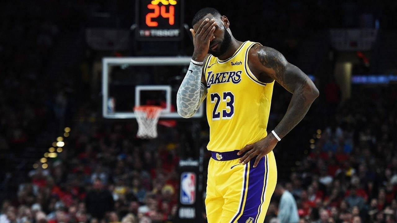 LeBron James banging his head after Lakers loss vs Nuggets