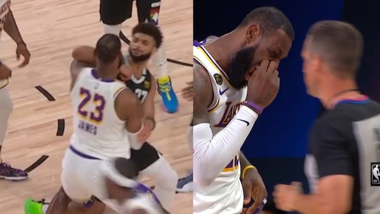 Jamal Murray elbows LeBron James