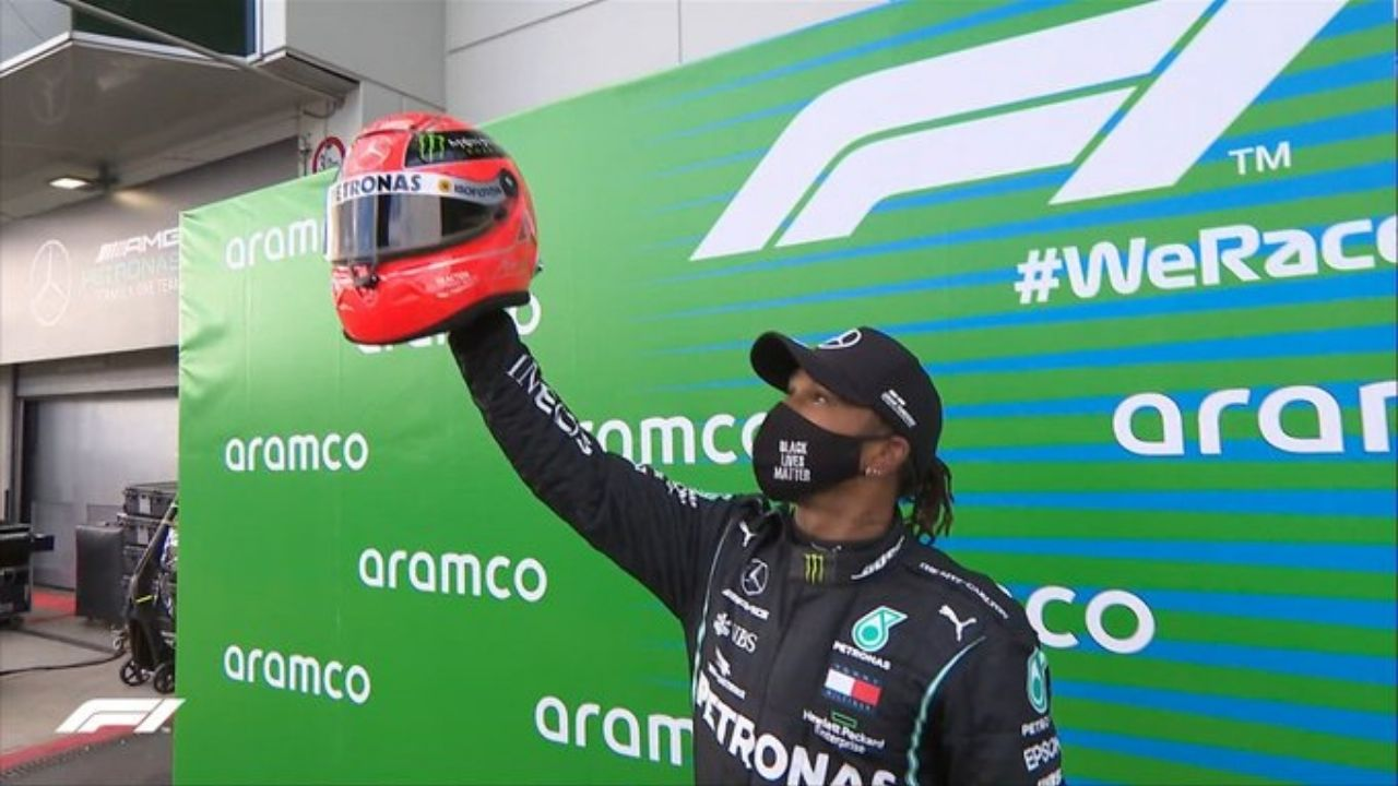 Lewis Hamilton 91 Wins Mick Schumacher Hands Over His Father S Helmet To Hamilton As A Mark Of Tribute The Sportsrush