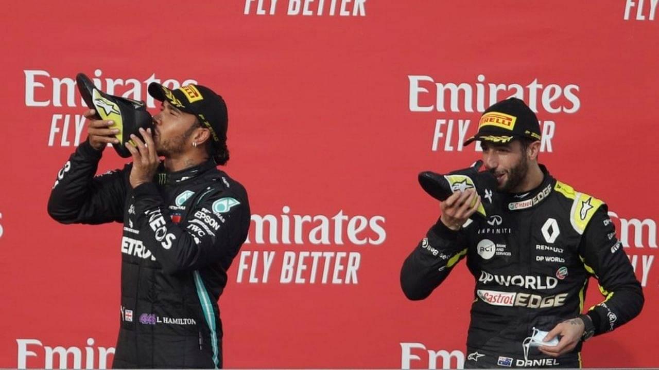 """""""Take your other shoe off""""- Lewis Hamilton to Daniel Ricciardo before Shoey celebration"""