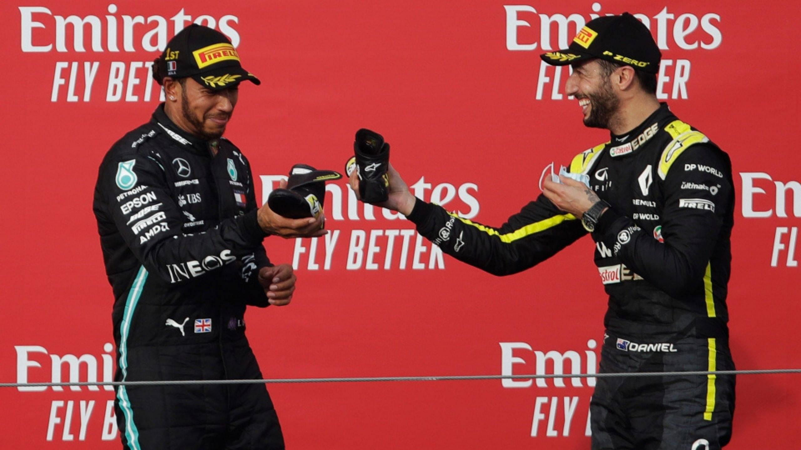Daniel Ricciardo shoey: Renault driver does shoey after grabbing Imola pole, makes Lewis Hamilton follow suit