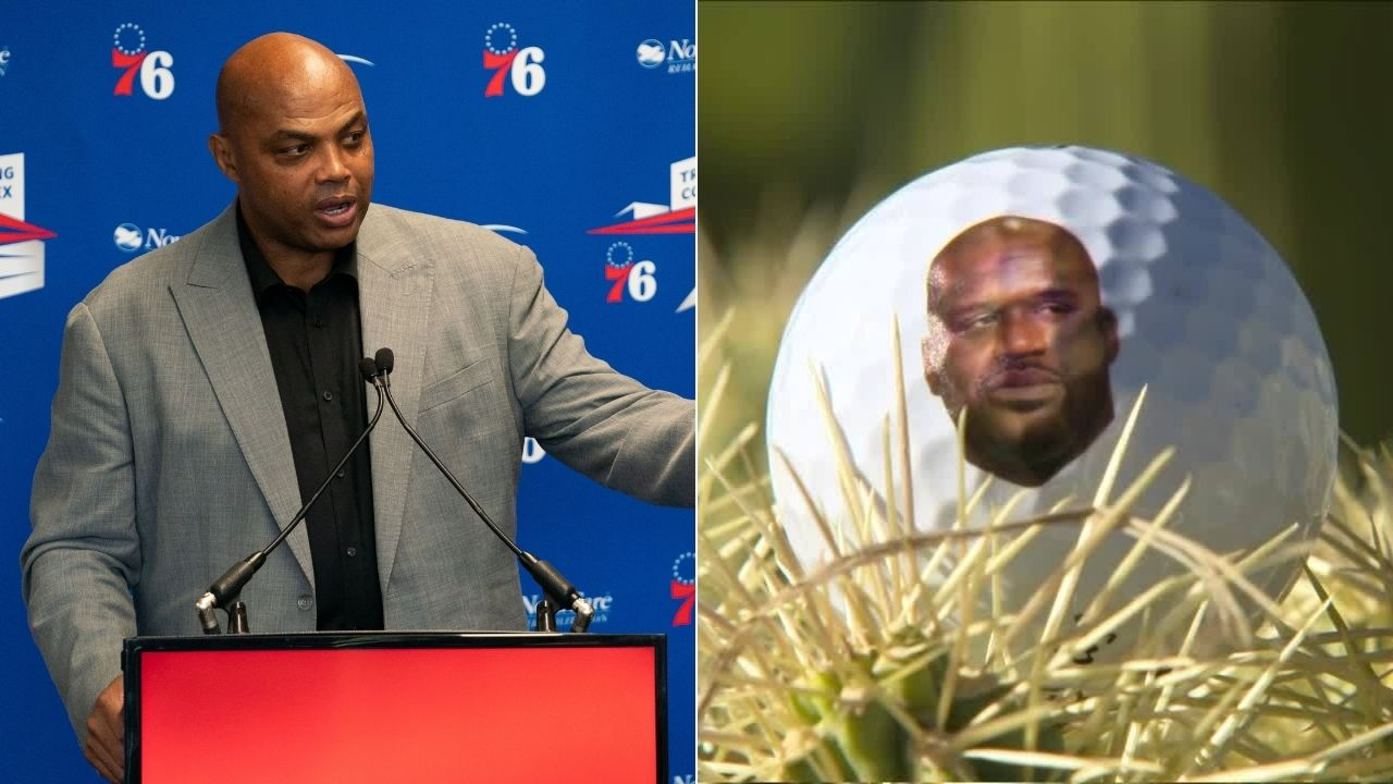 'Championship Chuck': Charles Barkley smashes golf balls with Shaquille O' Neal's face on them in 'The Match 3' win