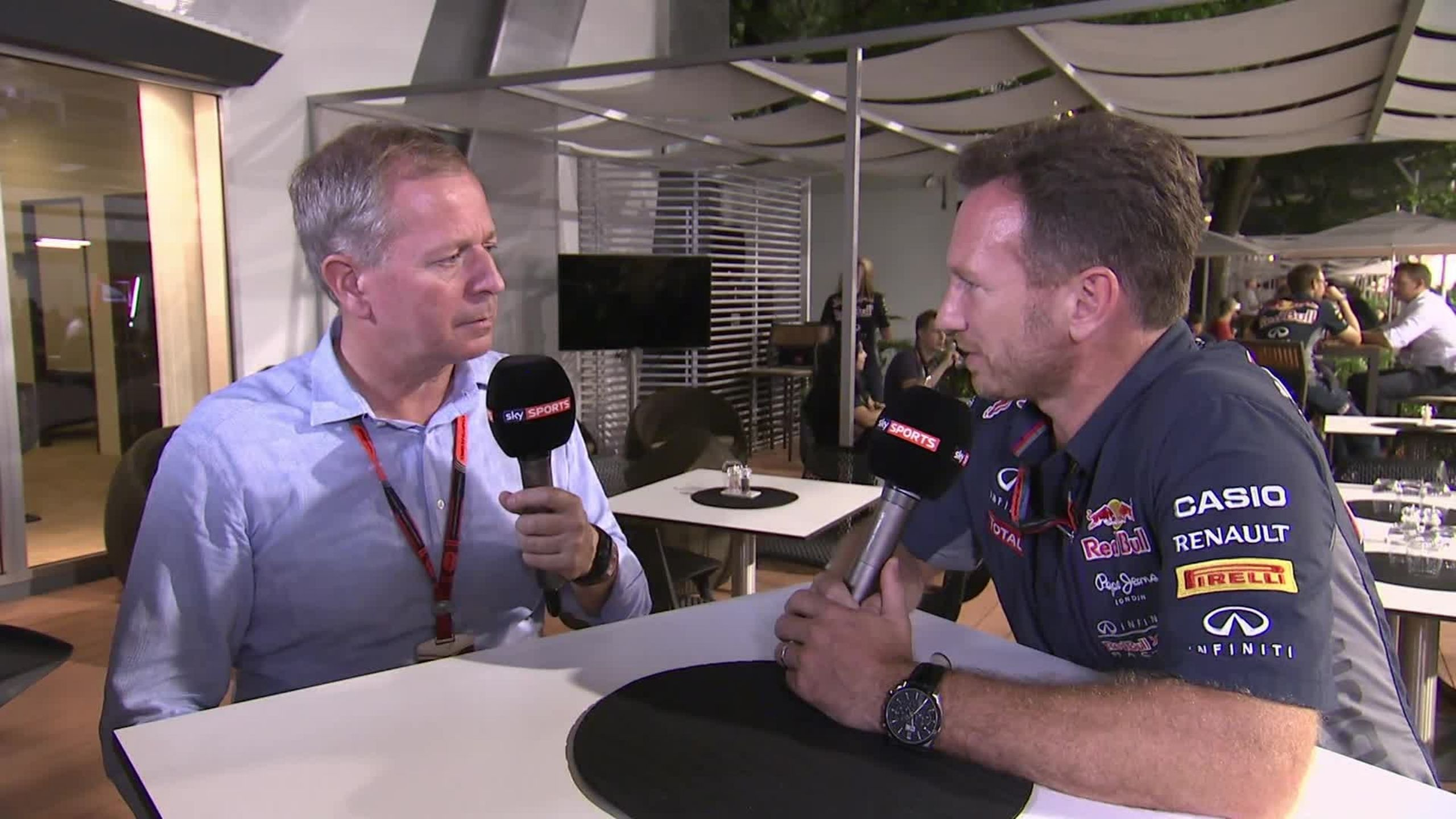Christian Horner shares hilarious anecdote of a bet with Martin Brundle which left him naked on a pool
