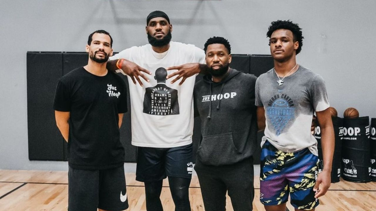'Bronny's been stuck in the gym since that lil smoking video': LeBron James' son towers over friends of the Lakers star in latest photo