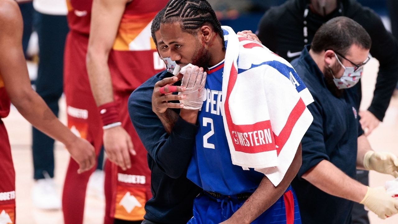 'Not sure I have ever seen a face move like this': New angle of Kawhi Leonard's 'bloody' face injury explains why he got 8 stitches