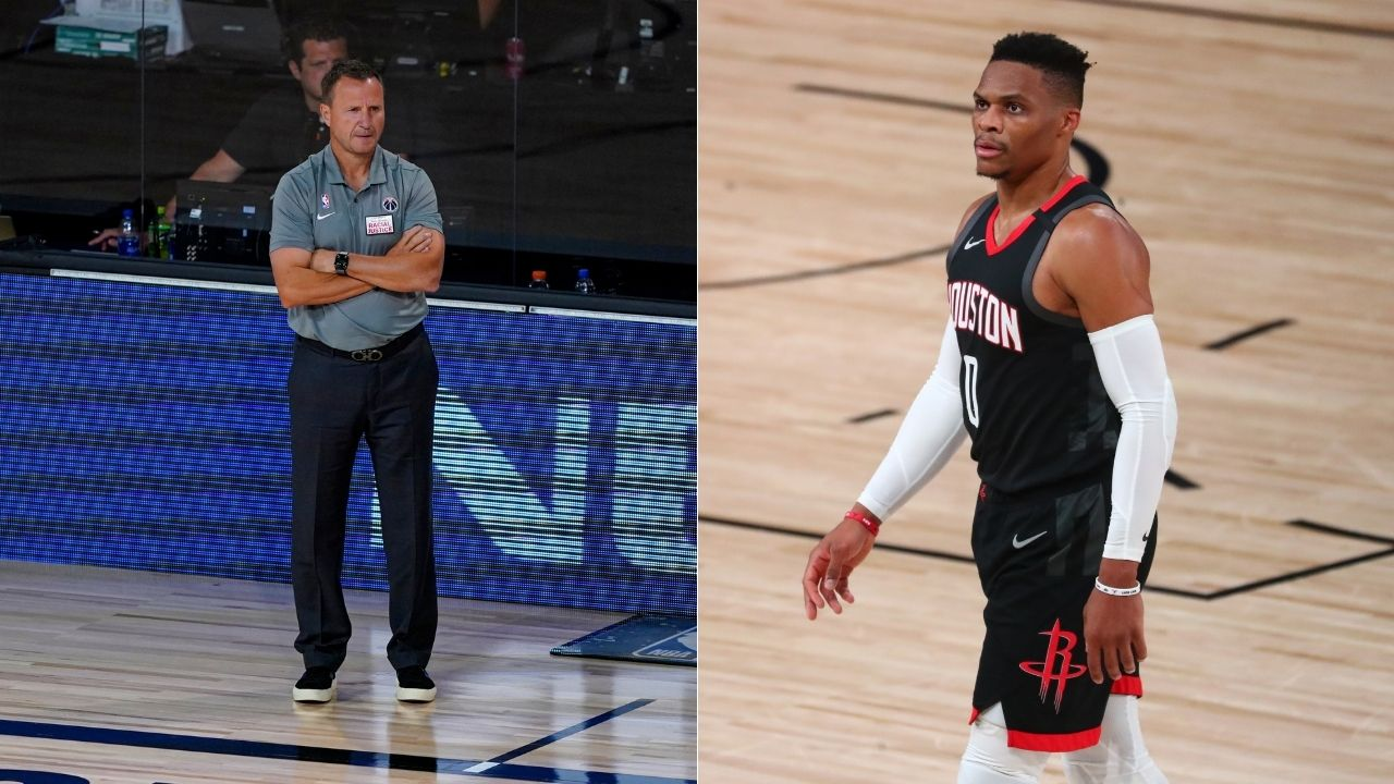 'He's drawing up plays!': Russell Westbrook induces hysterics when he takes over as Wizards coach from Scott Brooks