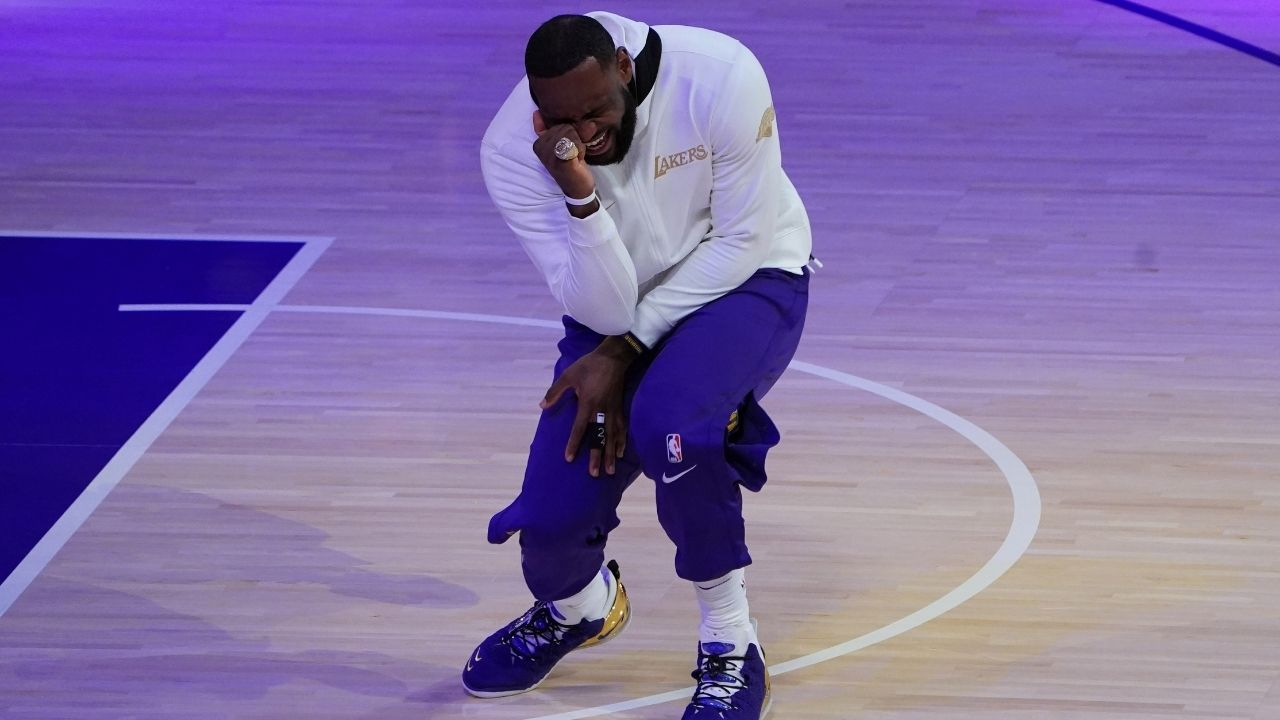 """""""Maybe if I drink from the right side, it will help with my free throw"""": LeBron James blames his airball in Lakers vs Mavericks on wine"""