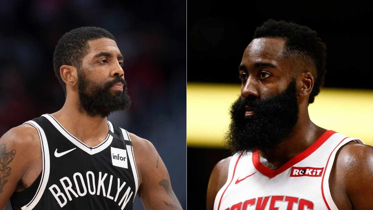 """""""I just want James Harden to be happy"""": Kyrie Irving addresses rumors linking Rockets star to the Nets in first media availability"""