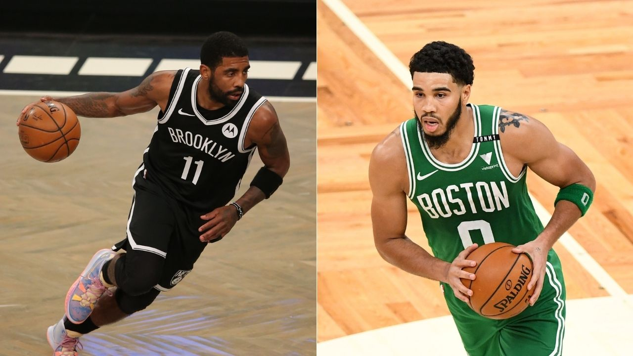 """""""Jayson Tatum shows off Mamba Mentality"""": Celtics star slaps Kyrie Irving on butt in typical Kobe Bryant fashion after draining turnaround fadeaway"""