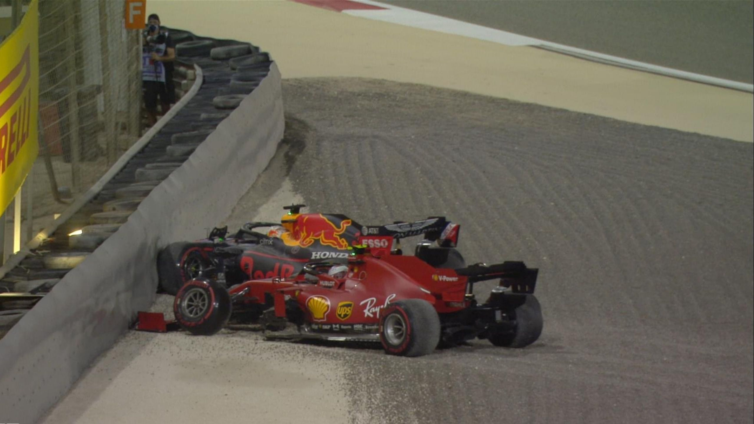 Sakhir GP: Max Verstappen and Charles Leclerc out in Lap 1 after the Red Bull and Ferrari collide
