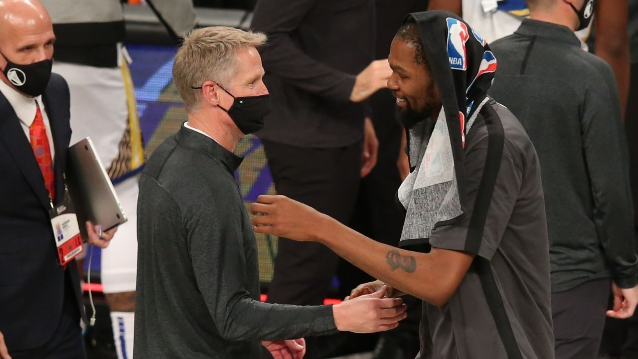'I probably deserve this': Steve Kerr jokingly trolls his own Warriors outfit for opening night game against Kevin Durant and Nets
