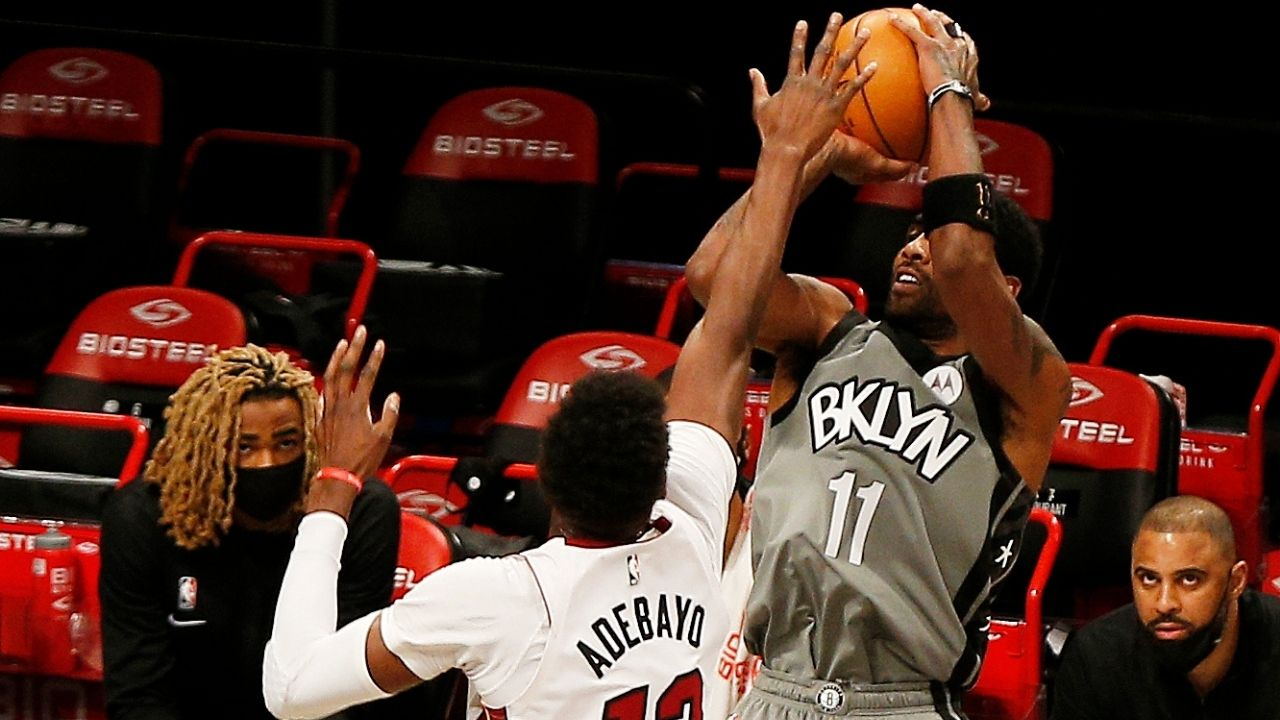 """""""Kyrie Irving is getting suspended"""": NBA fans hilariously react to Brooklyn Net star giving his jersey to Heat big man Bam Adebayo"""