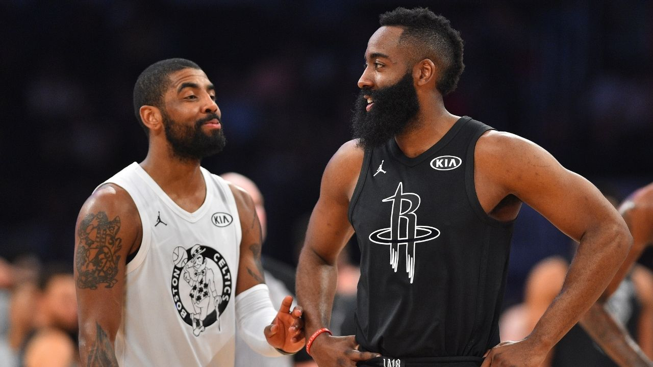 """""""Kyrie Irving, hurry up before Steve Nash makes you 6th man"""": Kendrick Perkins hilariously trolls enigmatic guard after James Harden nets triple-double in Nets debut"""