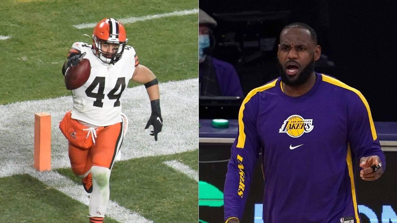 """TAKI TAKI!"": Lakers MVP LeBron James reacts to Cleveland Browns LB Sione Takitaki's interception against Juju and the Steelers"