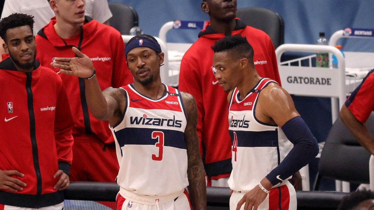 """""""Russ, what do you do?"""": Bradley Beal explains why he imitated Russell Westbrook's rock the cradle celebration in Wizards win"""