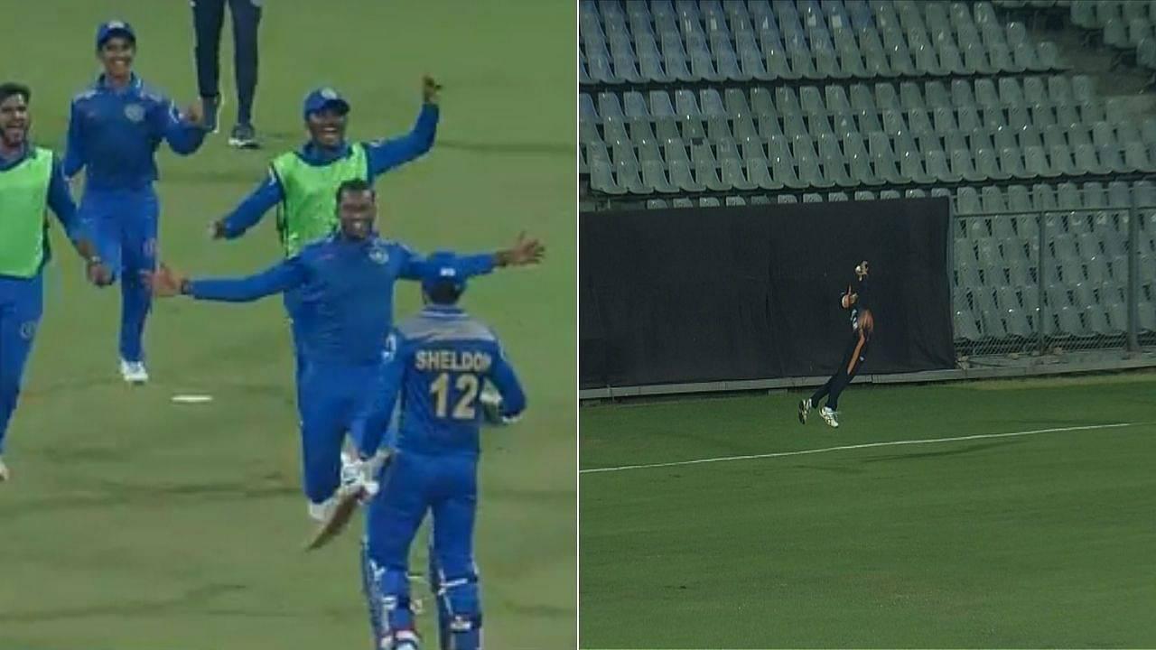 Syed Mushtaq Ali Trophy: Ashwin Hebbar grabs stunner to dismiss Paras Dogra; Sheldon Jackson's maiden T20 century seals 227-run chase