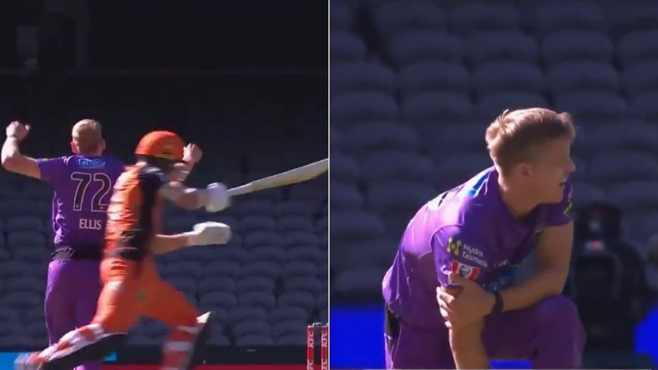 BBL 10: Nathan Ellis collides with Aaron Hardie while lbw appeal against Scorchers batsman