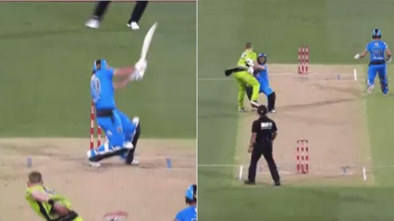 BBL 10: Jonathan Wells collides with Nathan McAndrew after getting hit on the helmet in Strikers vs Thunder match