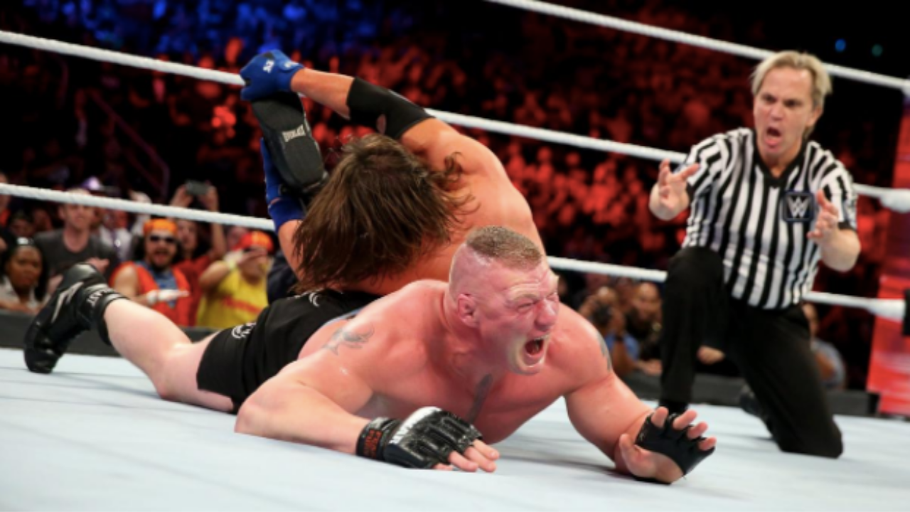 Kurt Angle reveals he convinced Brock Lesnar to sell for AJ Styles in their match at Survivor Series 2017