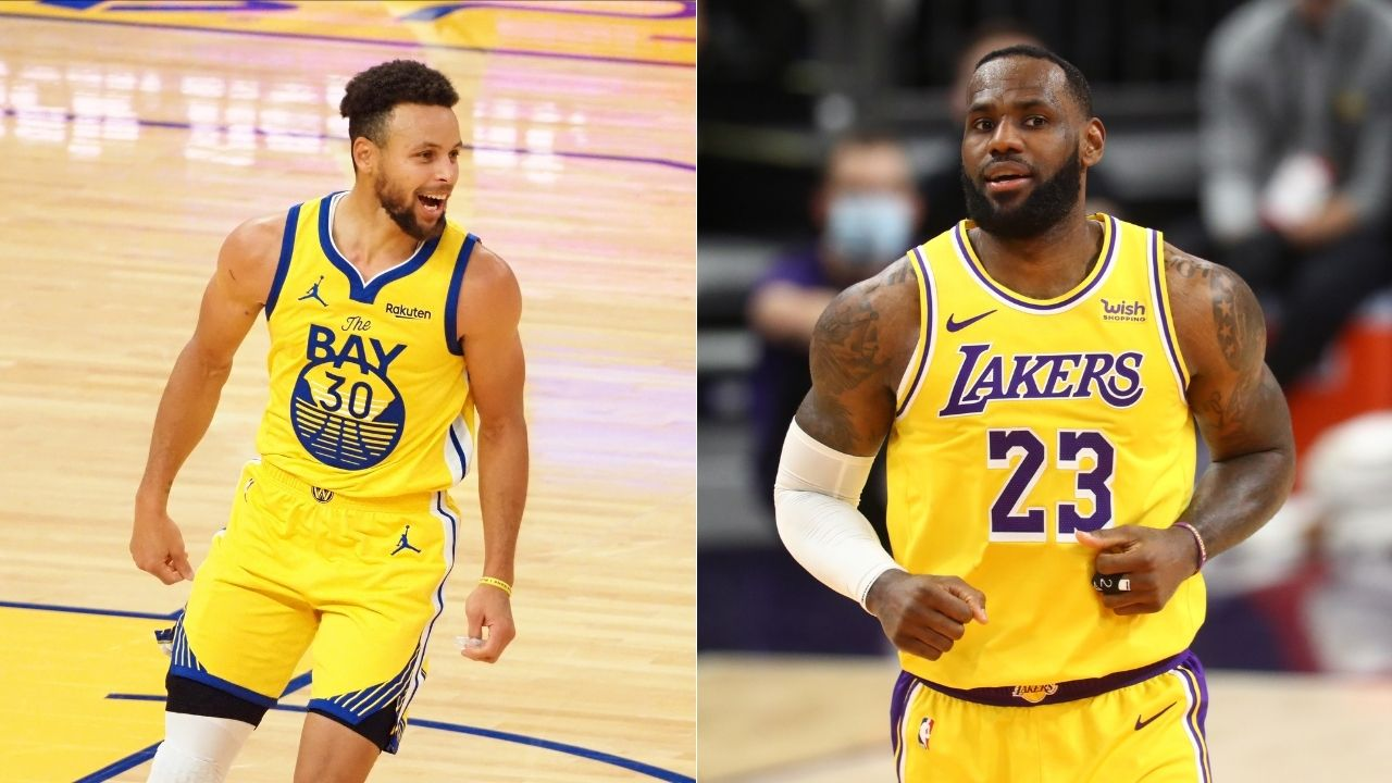 """""""Steph Curry makes it 10 times out of 9"""": LeBron James pays respect to Warriors star after making look-away 3-pointer while staring at Lakers bench"""