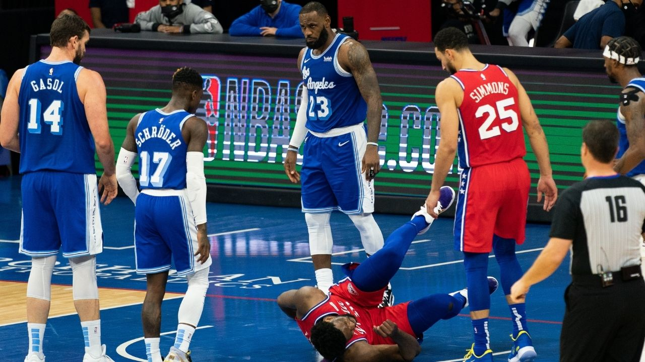 """LeBron James deserved a flagrant 2"": Joel Embiid adamant that Lakers star should have been ejected for hard foul prior to Tobias Harris game winner"