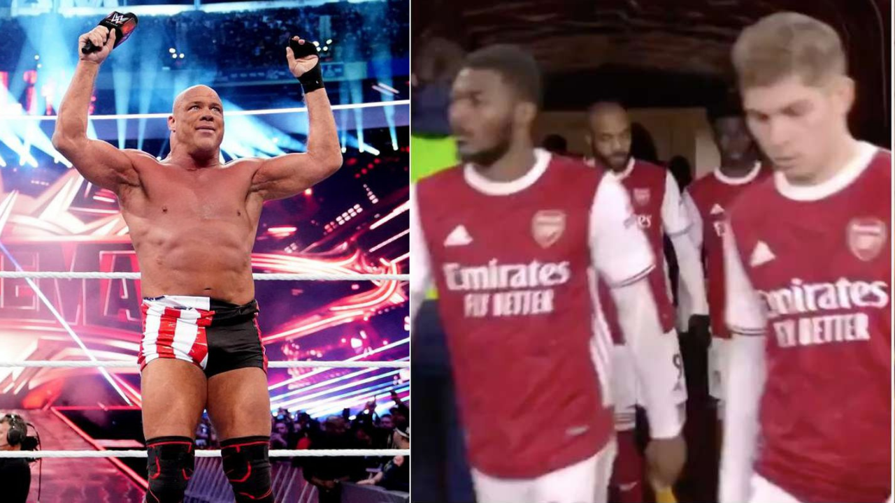 Kurt Angle comments on Arsenal walking out to his theme song vs Crystal Palace