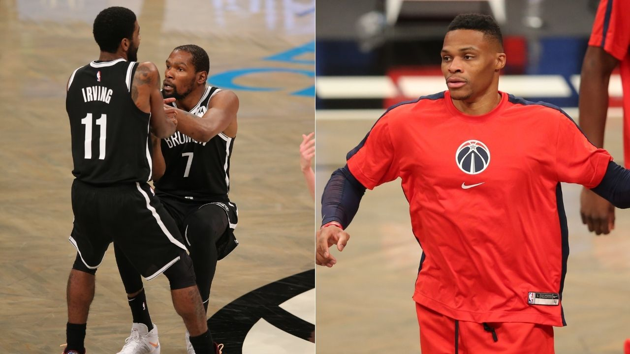 """""""I have no reaction, they missed"""": Russell Westbrook tacitly dodges question about Kevin Durant and Kyrie Irving's missed gamewinners vs Wizards"""