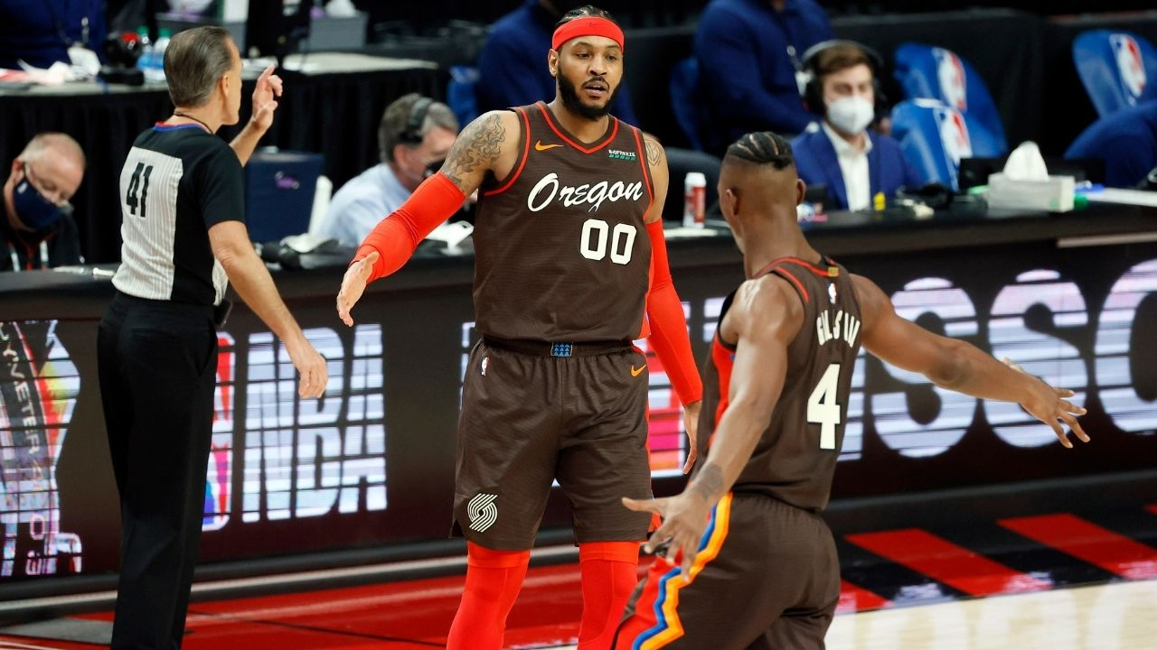 """""""I got a glass of wine waiting for me at home"""": Carmelo Anthony reveals how he will be celebrating the Blazers' win over the Philadelphia 76ers after his 4th quarter takeover"""