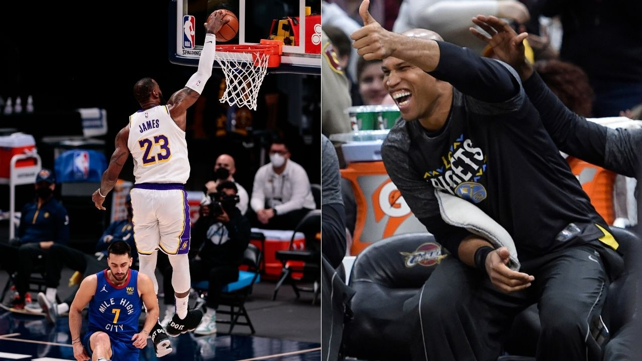 LeBron James makes spectacular transition dunk before halftime buzzer, but NBA Twitter is adamant that the Lakers star wasn't called for a blatant travel