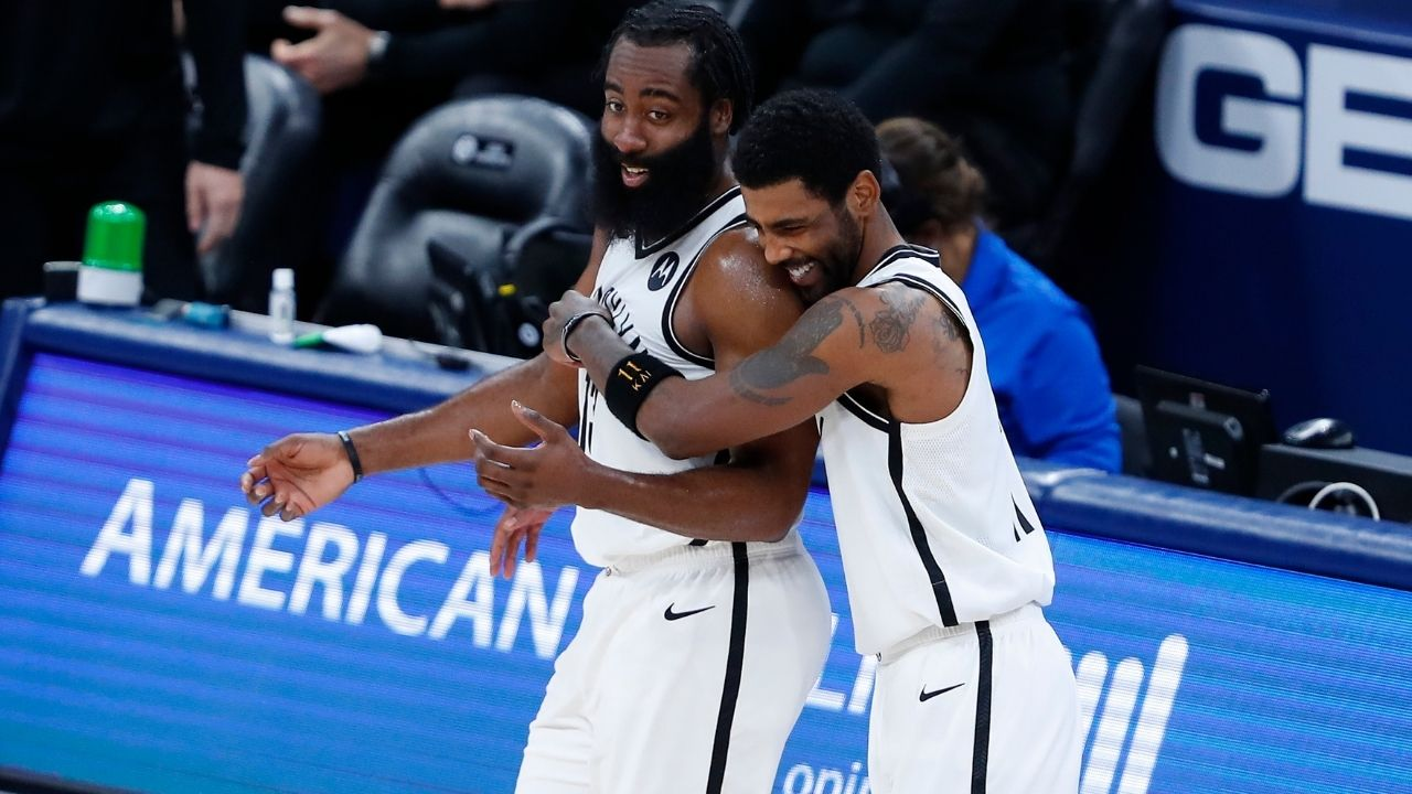 """Kyrie Irving plays like it's a movie"": Nets' James Harden piles on the praise for his star teammate after his 40-point game in Kevin Durant's absence"