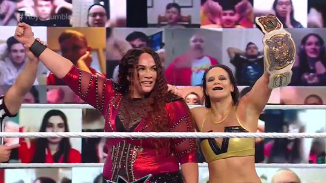 Nia Jax and Shayna Baszler dethrone Charlotte Flair and Asuka as WWE Women's Tag Team Champions at Royal Rumble 2021