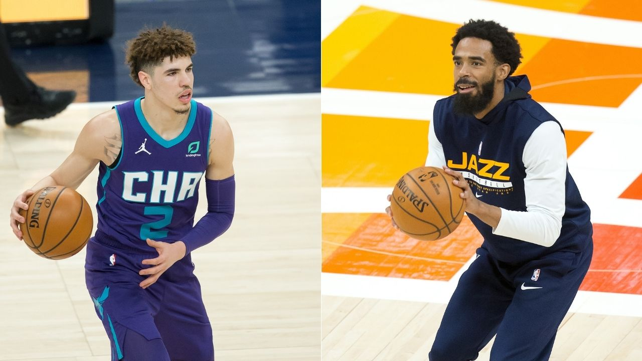 """Mike Conley you're too small"": LaMelo Ball trash talks the Jazz star, saying he cannot guard him the Hornets rookie on his way to the rim"