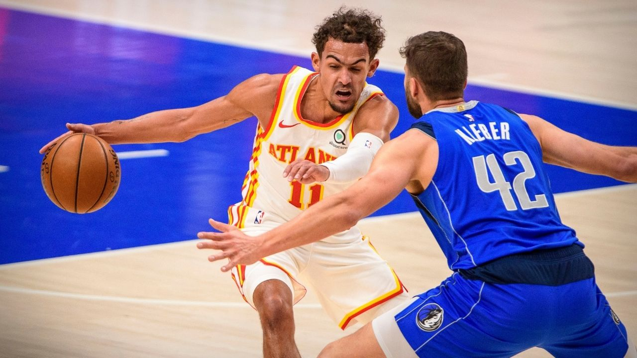 """""""Trae Young nutmegs Kristaps Porzingis twice in the same game"""": Hawks point guard puts the ball between Mavericks star's legs twice in their loss tonight"""