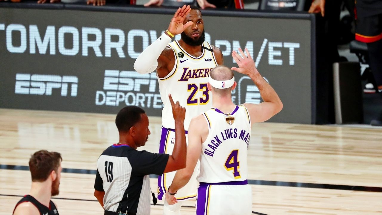 """""""Wish Alex Caruso would have shot a 3"""": LeBron James signals his disappointment at Lakers teammate for having foot on the line for his attempted game-winner against the Heat"""