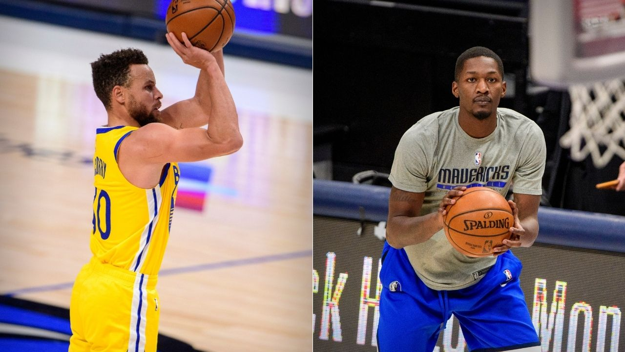 """""""Dorian Finney-Smith left staring at the logo beneath Stephen Curry"""": Mavs swingman can't believe Steph made it from the logo in Mavs' win over Warriors"""